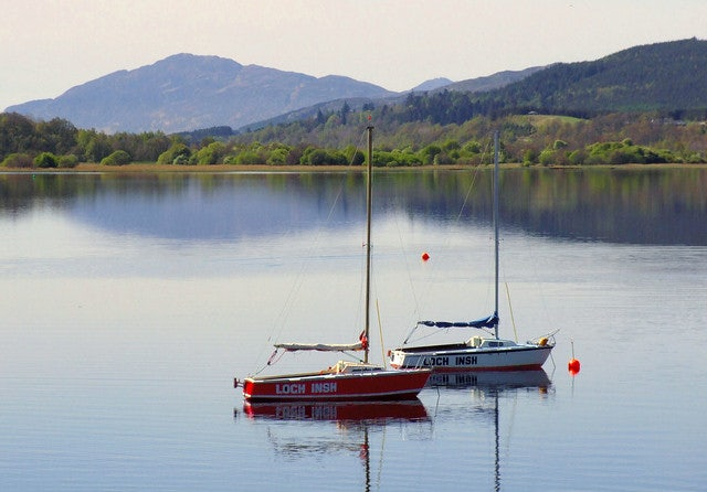 two sailboats at Loch Insh in Scotland