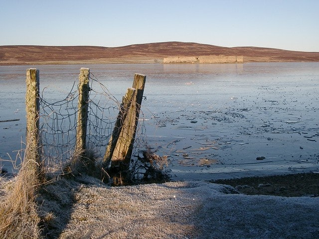 fence in front of Lochindorb in Scotland