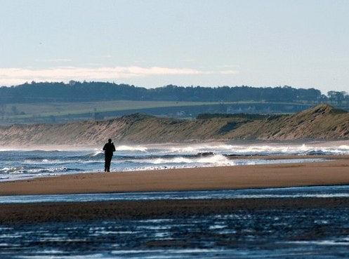 a man walking at the St Cyrus National Nature Reserve in Scotland