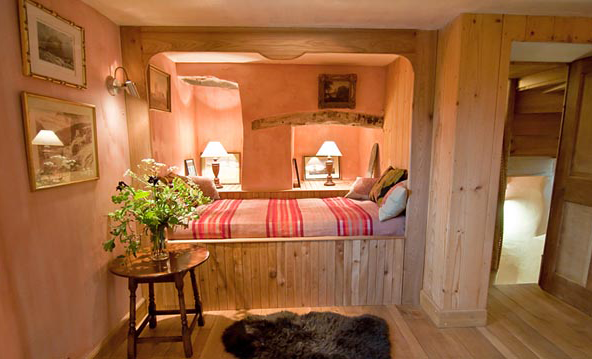 interior with pink colours at the Barns Tower