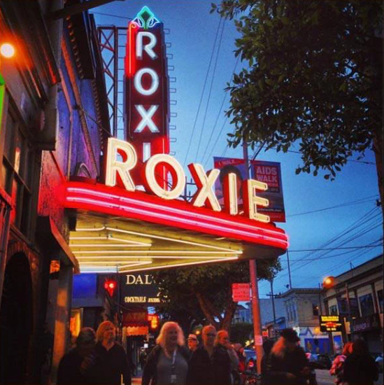 neon signs of the Roxie theatre