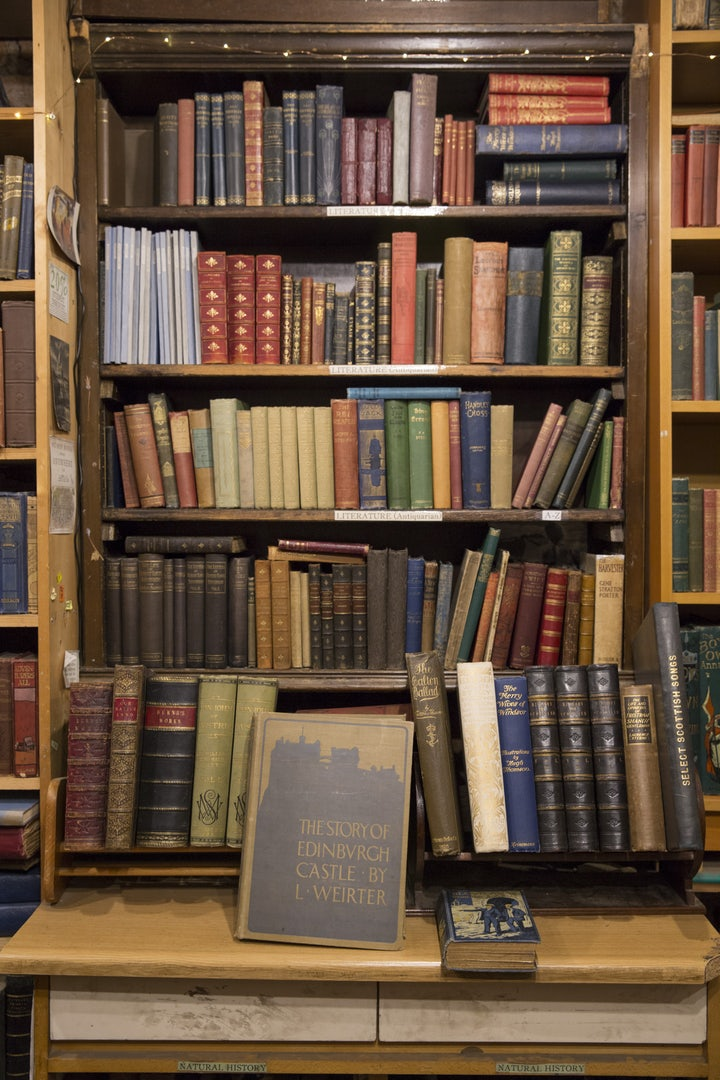 antique books at Armchair Bookstore in Edinburgh