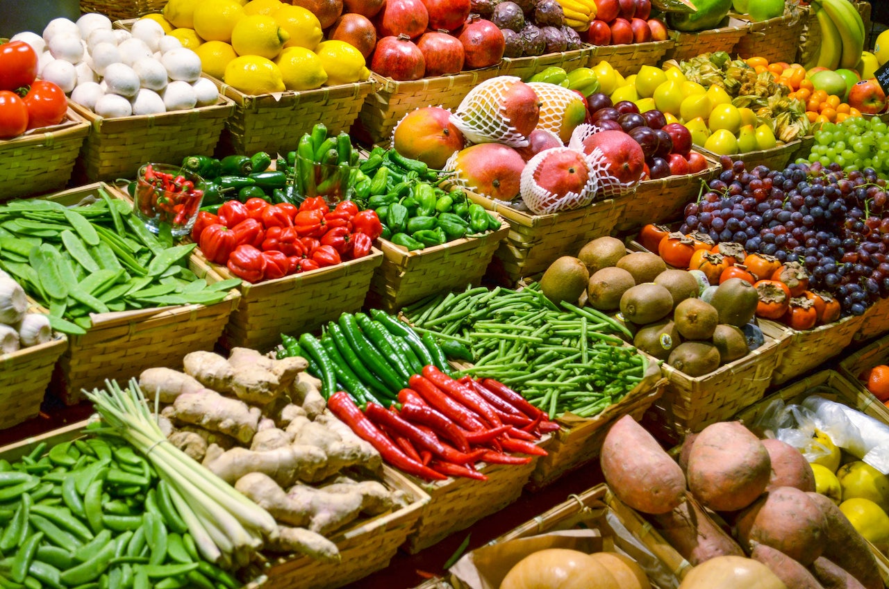 vegetables and fruits at a market