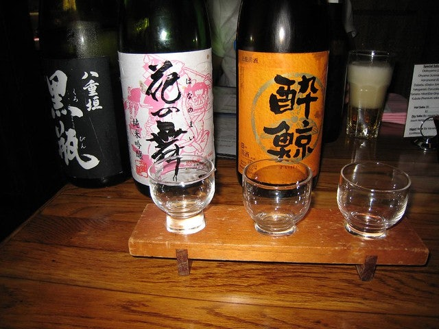 different bottles of sake