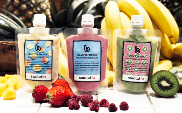 three different juices from Bebible Tokyo