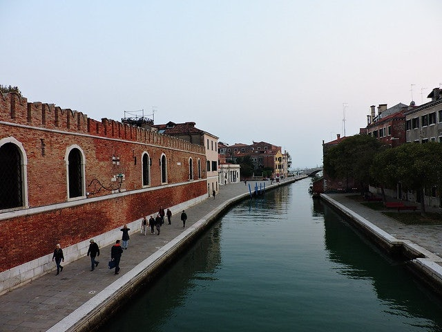 a fondamenta or street along the canal in Venice