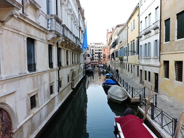 a small canal or rio in Venice