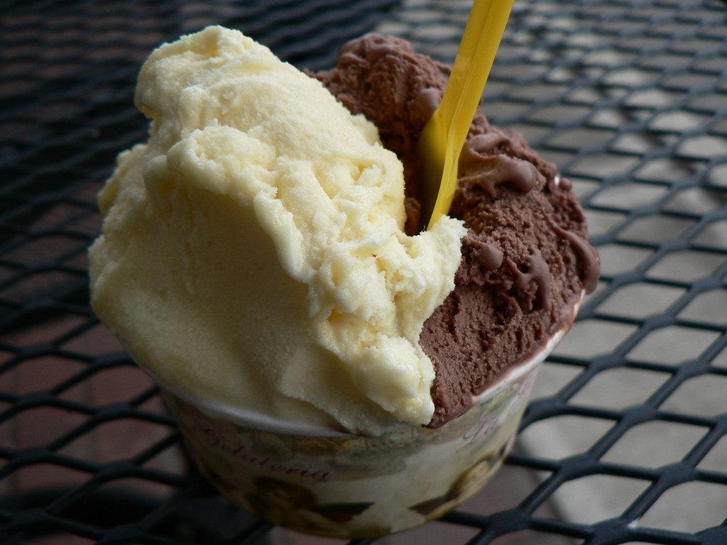 gelato with chocolate and vanilla