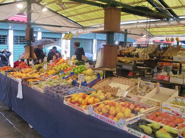 fruit stand at the Mercato di Via Garibaldi in Venice