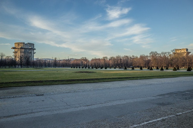 a wide field of grass at the Augarten park in Vienna