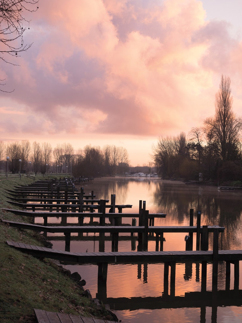 Belgium - The River Leie sunset view