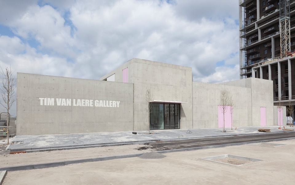 concrete exterior of the new Tim Van Laere Gallery in Antwerp