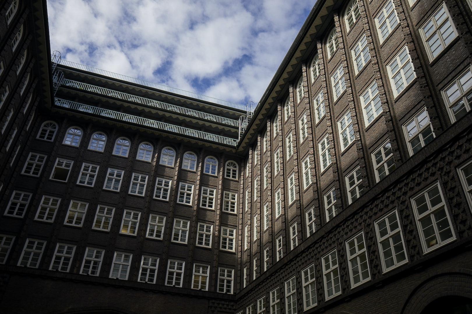 exterior of Bauhaus style Chilehaus in Hamburg