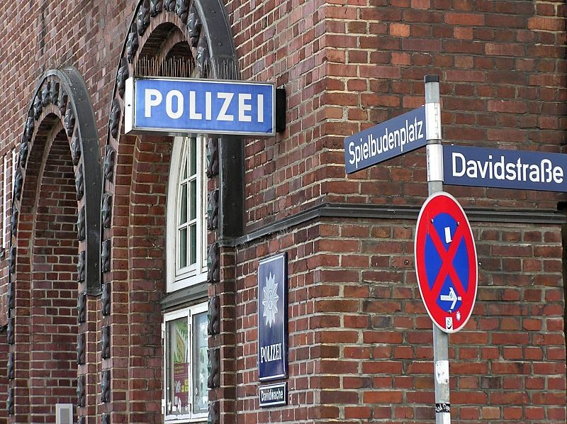 street sign and building of the Davidwache Police Station Hamburg