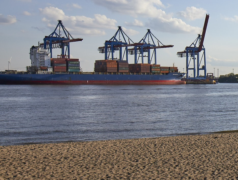 view of Hamburg's port from Elbstrand Oevelgönne