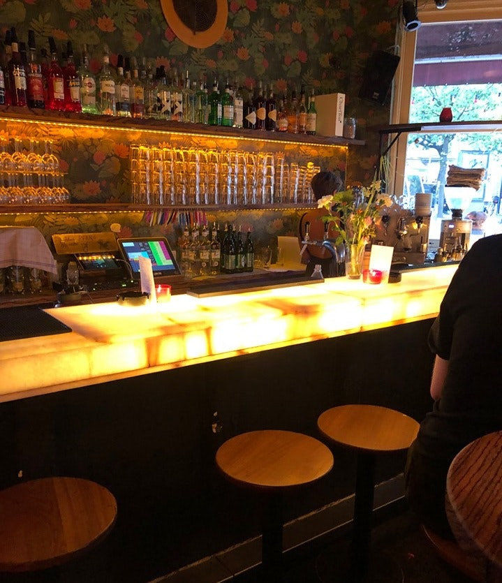 bar counter at Aurel bar in Hamburg