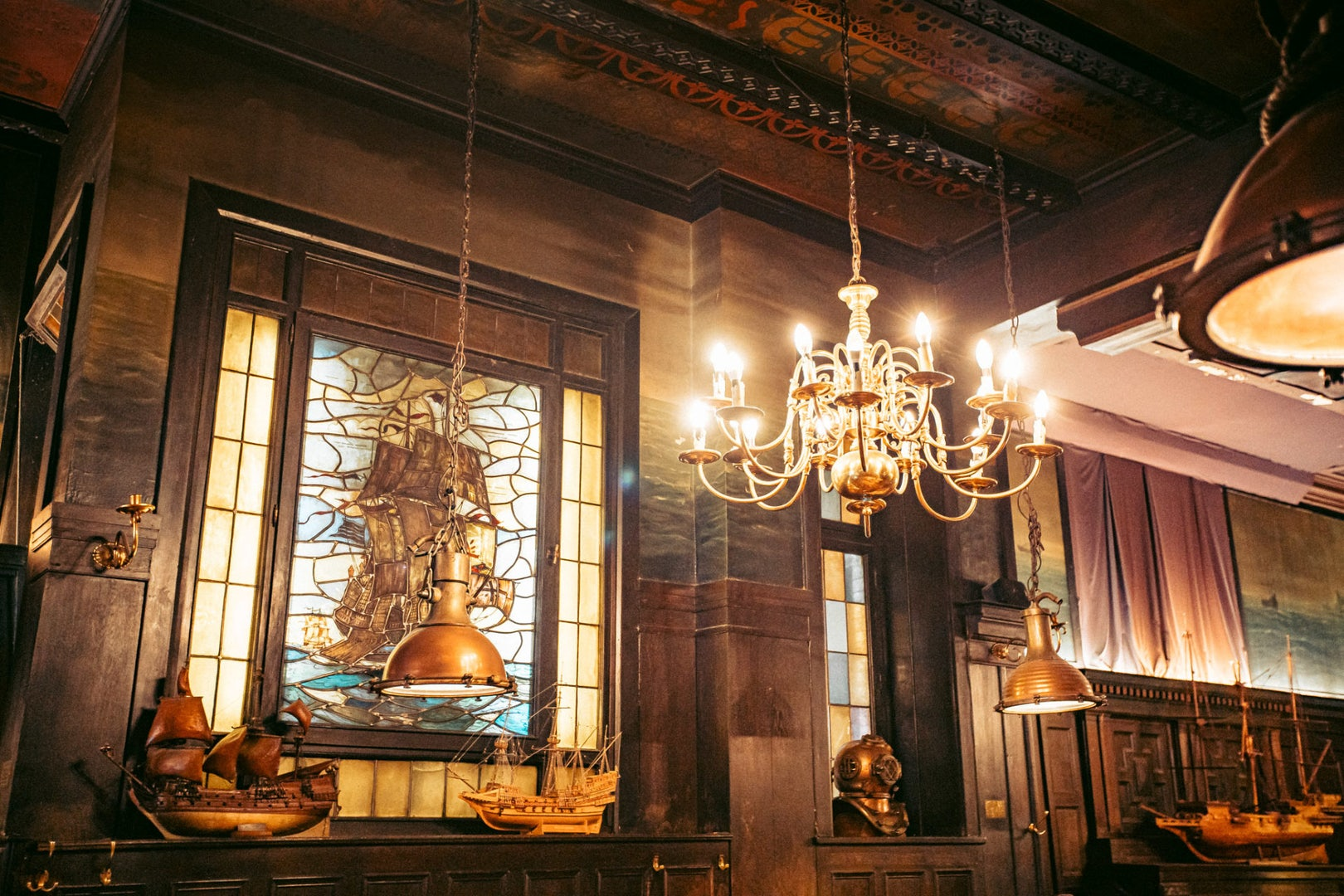 old wooden interior and stained glass at the Shifferbörse in Hamburg
