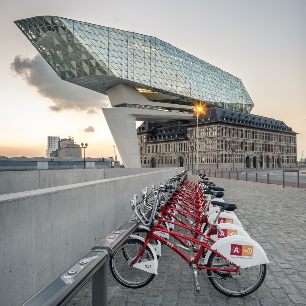 Antwerp - Port House and bike station for A Velo