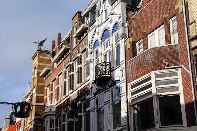 art nouveau buildings at the Noordeinde The Hague