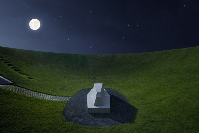 the Celestian Vault of James Turrell by night in the Hague
