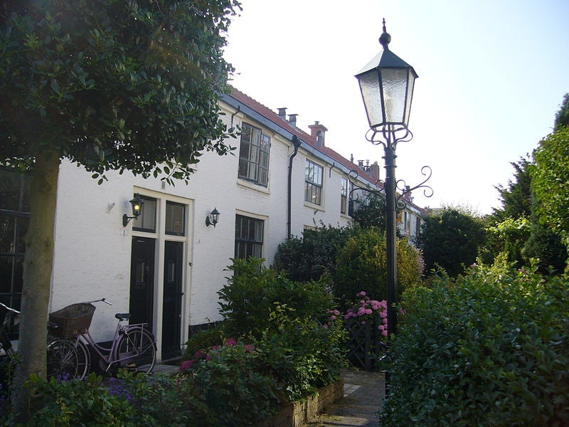 small houses and garden at Mallemolen street in The Hague