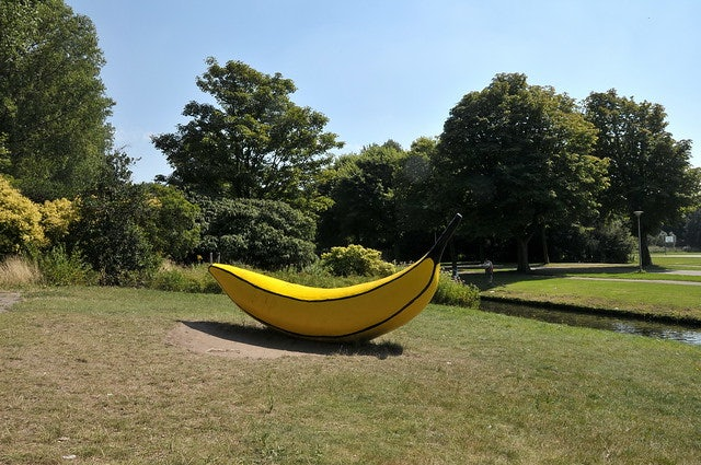 sculpture of a yellow banana in the Zuiderpark The Hague