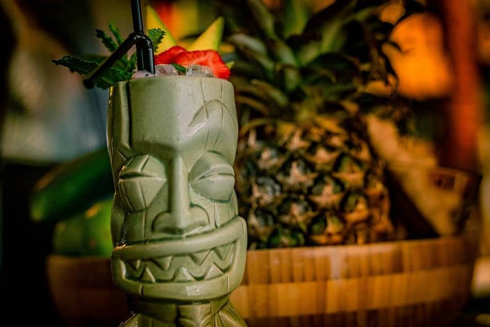 a cocktail in Tiki style