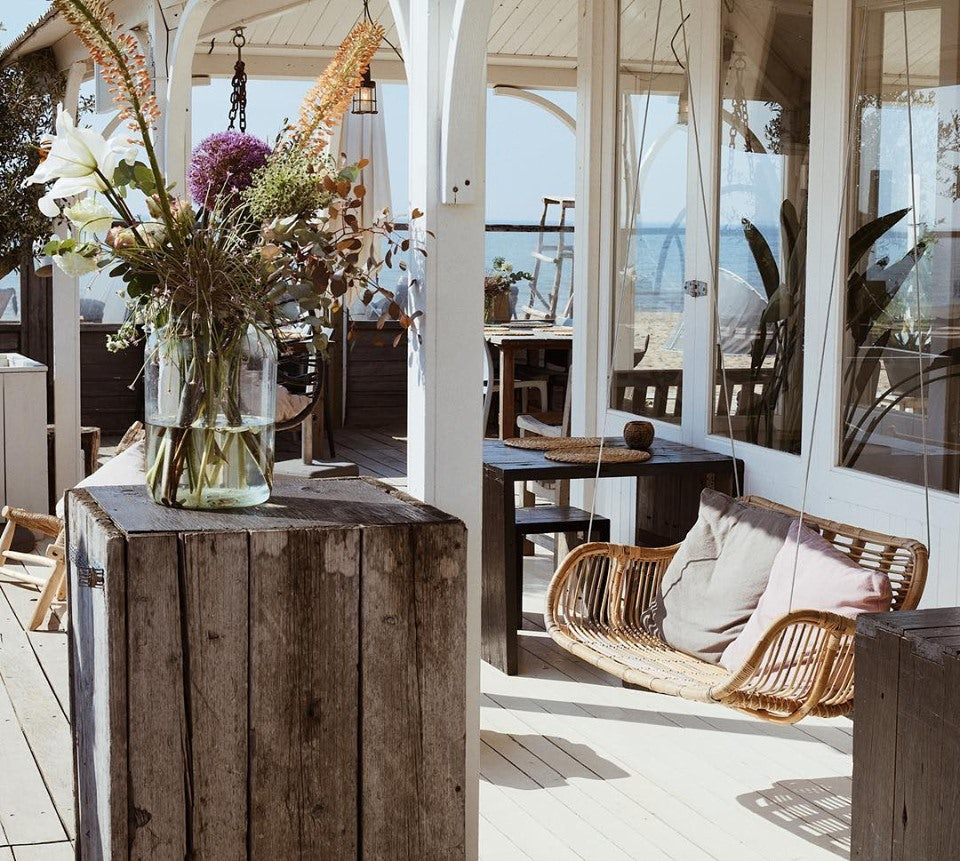 bohemian interior of Naturel beach restaurant The Hague