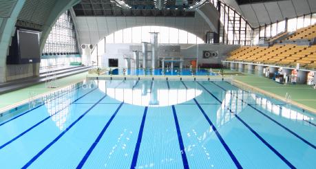 interior of main pool at Tatsumi Swimming Centre in Tokyo