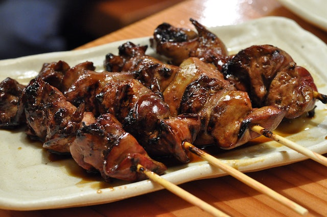 Yakitori skewers on a plate