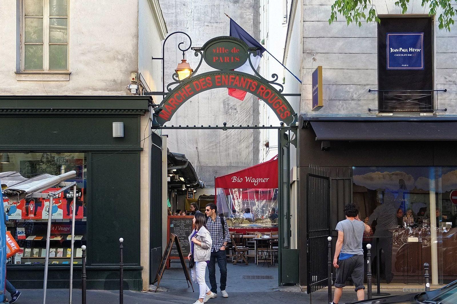 Paris - Marché des Enfants Rouges street entrance