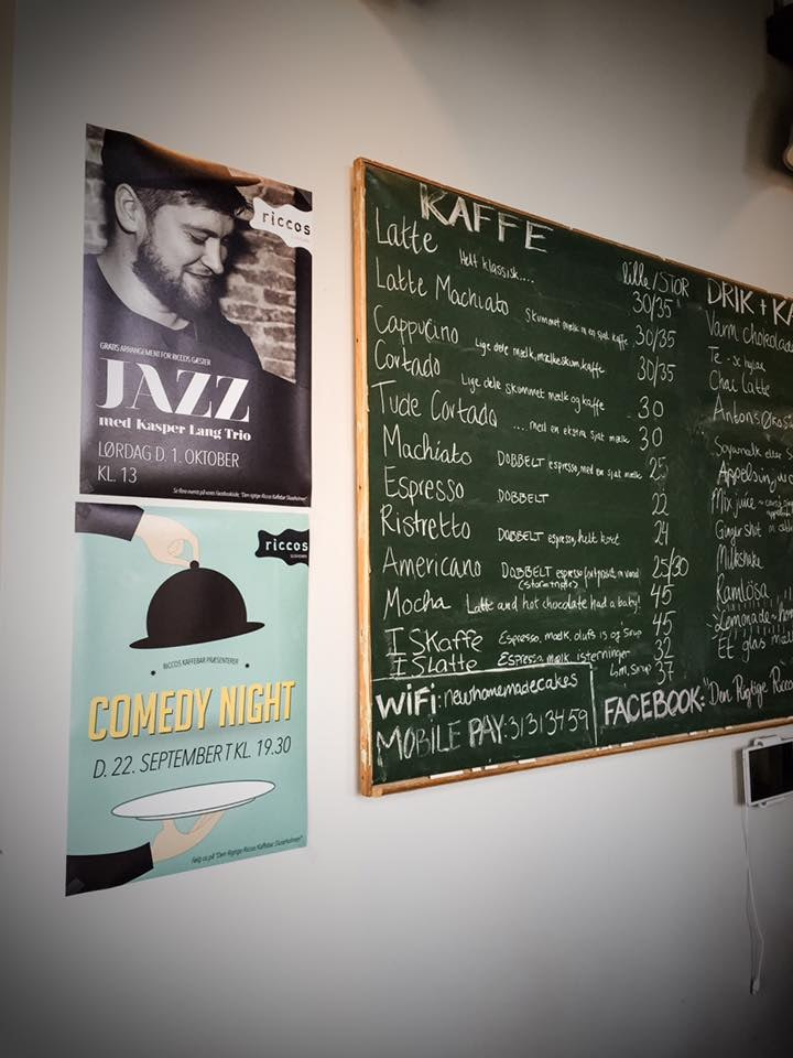 drinks menu at Ricco's Kaffebar in Copenhagen