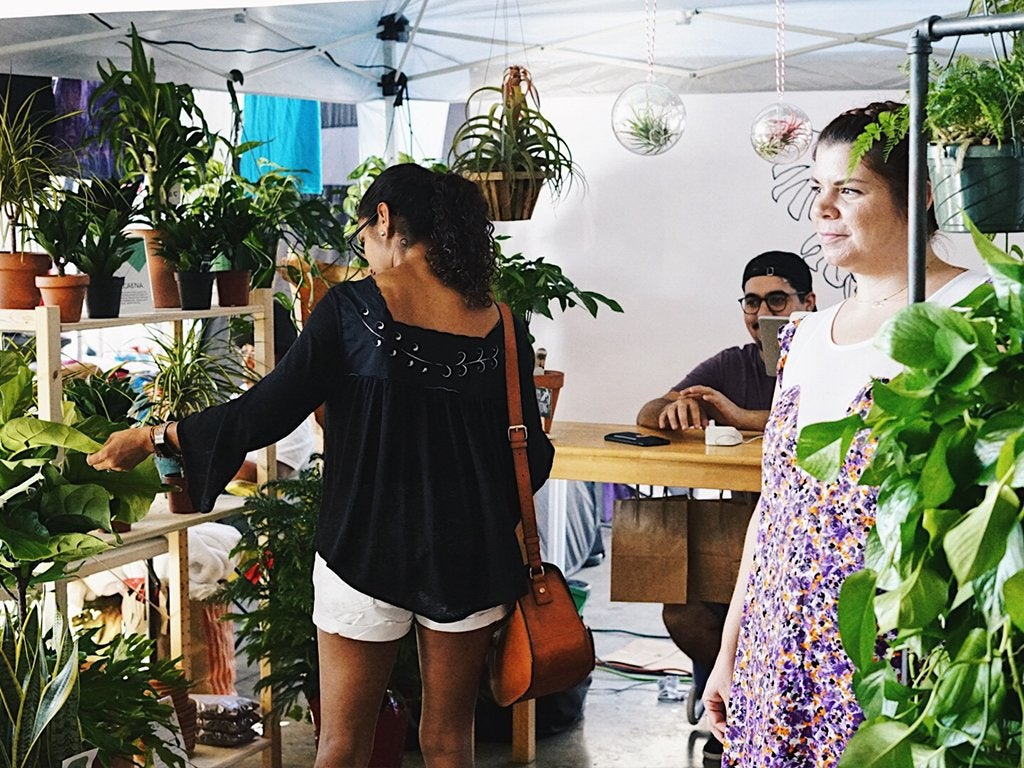 woman shopping plants at the Thrifter Market Miami
