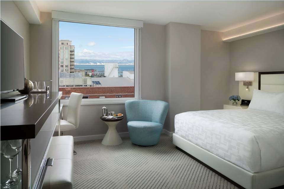 grey and blue room interior of Hotel VIA San Francisco