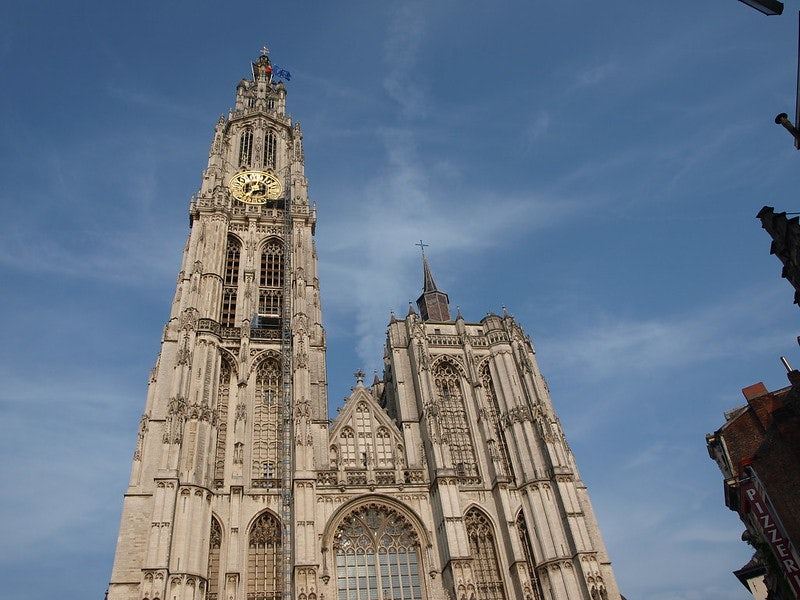ground view of the Cathedral in Antwerp