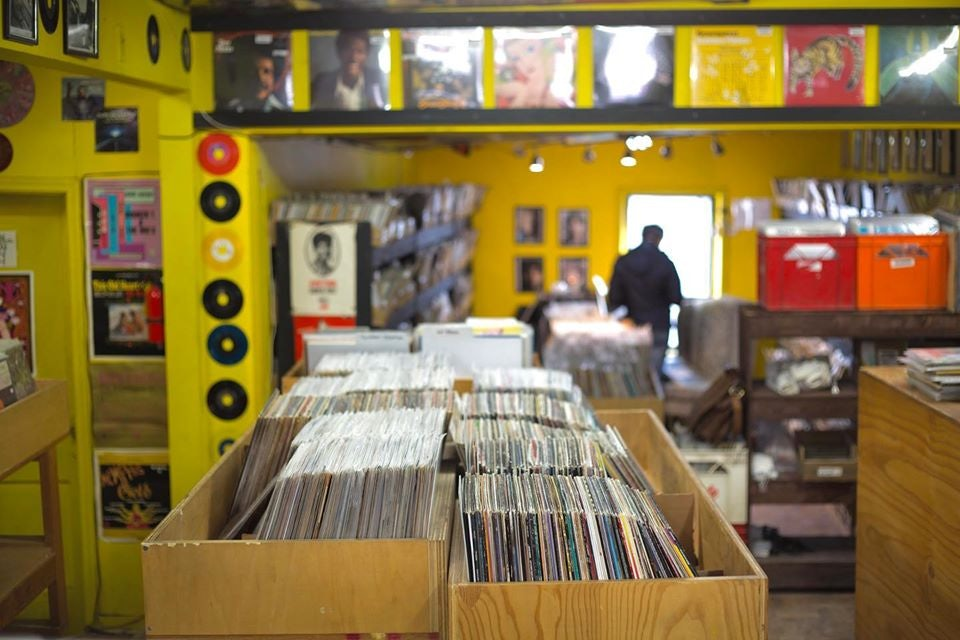 vinyls at display at Kops Records store