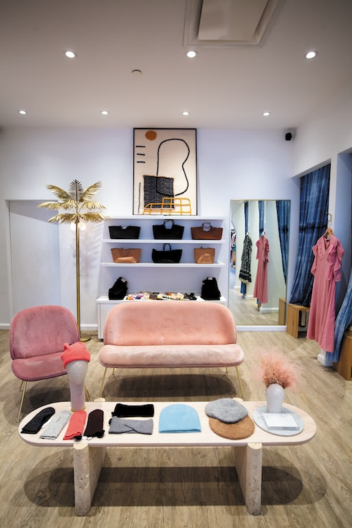 pinkish interior of Narhwhal boutique