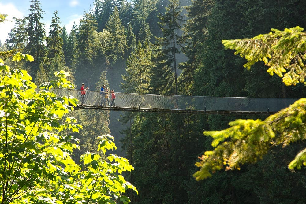 people walking over the Capilano Suspension bridge