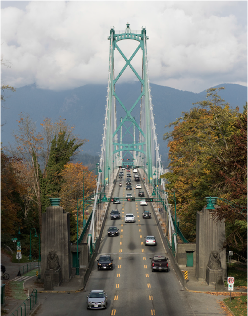 cars driving over the Lions Gate Bridge Vancouver