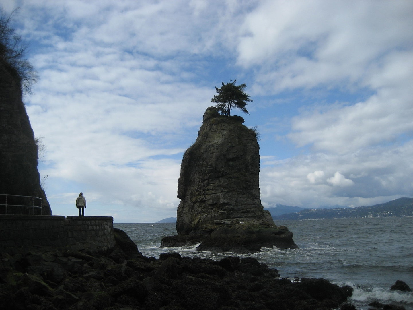 Siwash Rock by the seawall in Vancouver