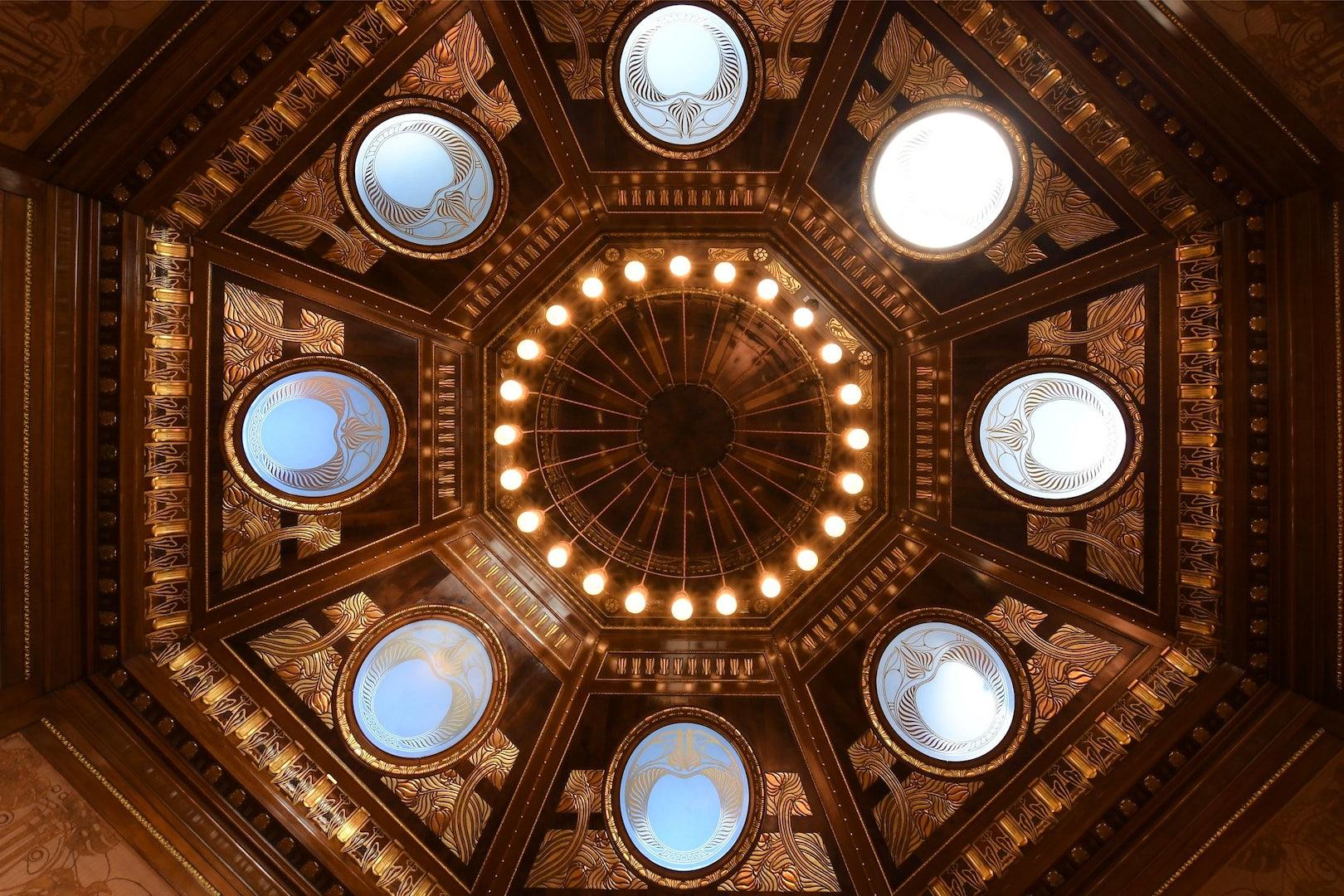Jugendstil ceiling of the Otto Wagner Hofpavillion