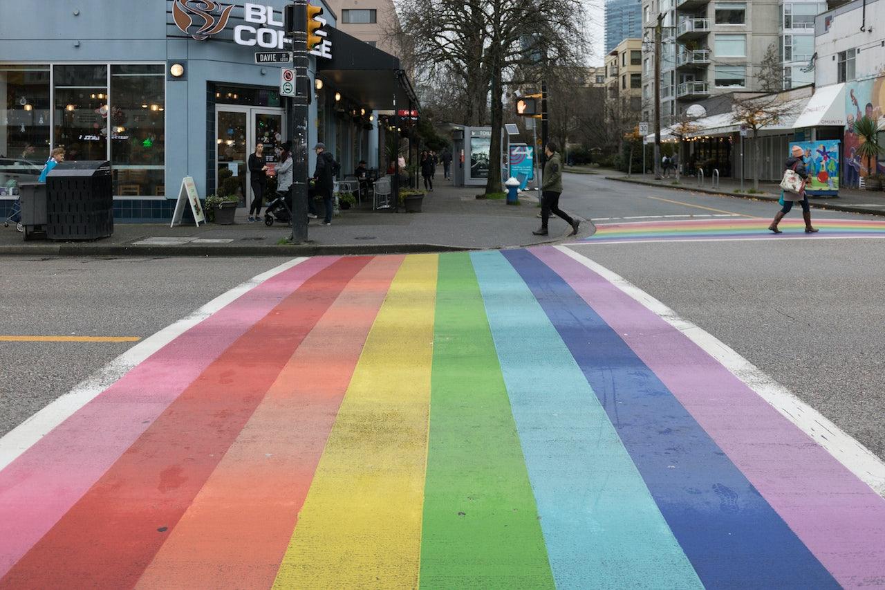a rainbow crosswalk at Bute Street & Davie Street