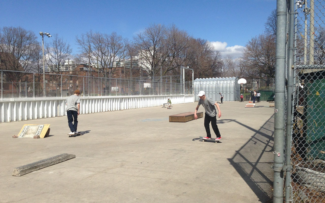 kids skating at Dufferin Grove Park