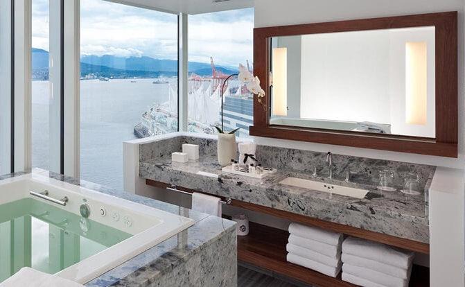 bathroom view at the Fairmont Pacific Rim hotel
