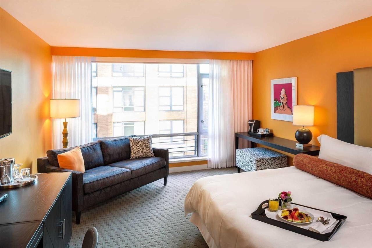 orange room interior of the OPUS hotel Vancouver