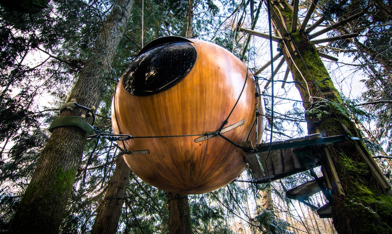 a glamping pod at the Free Spirit Spheres Vancouver