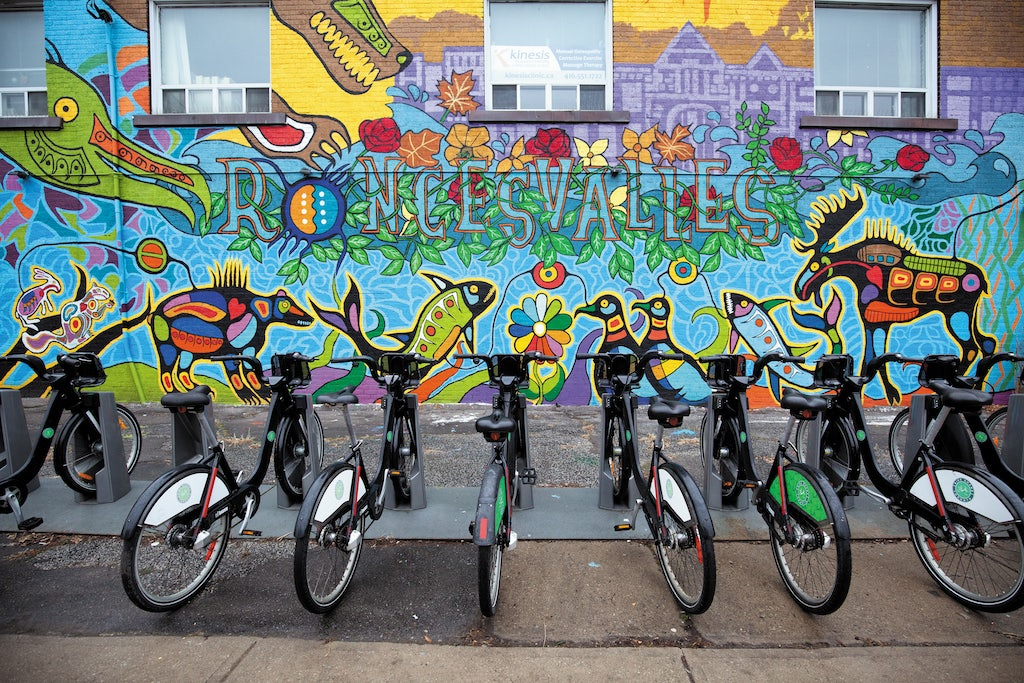 street art and parked bikes at the Roncesvalles Village in Toronto