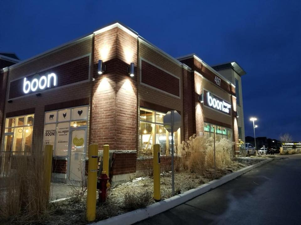 exterior of Boon Burger Cafe at night