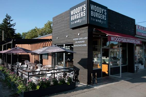 terrace and exterior of Woody's Burger in Toronto