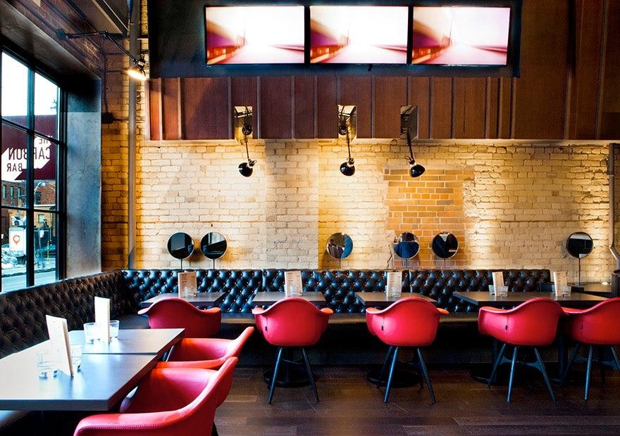 restaurant interior of The Carbon Bar in Toronto